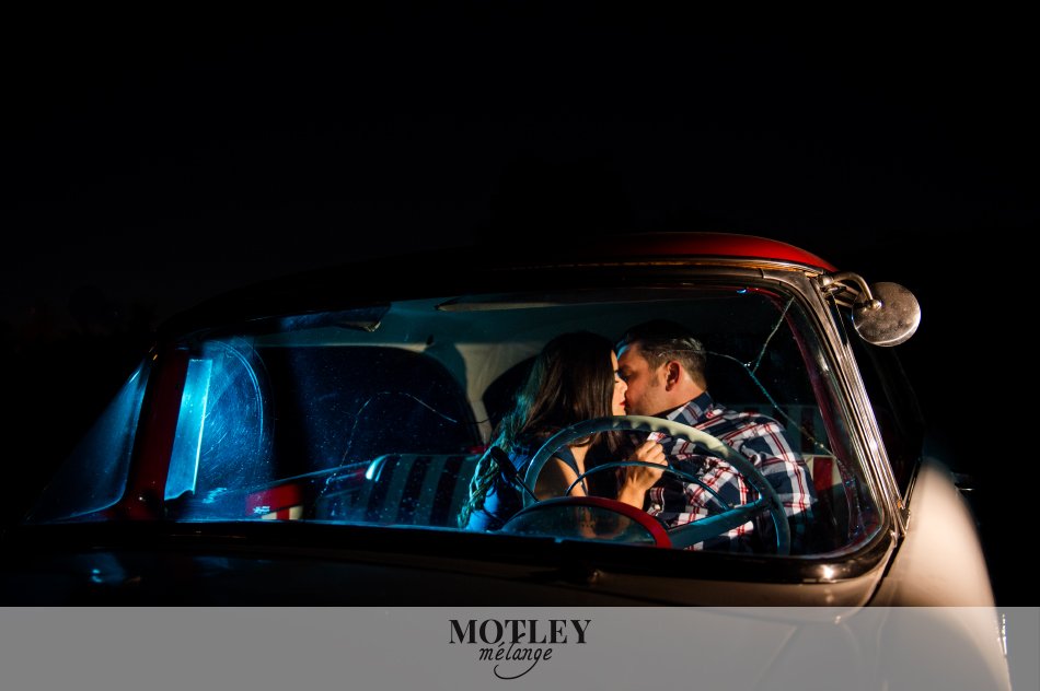 drive-in engagement photography